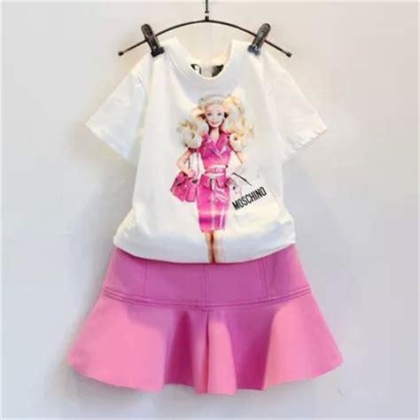 Baju Anak Perempuan Set Dress Lace Pink 2015 new summer sleeve white doll print t shirt pink skirt children