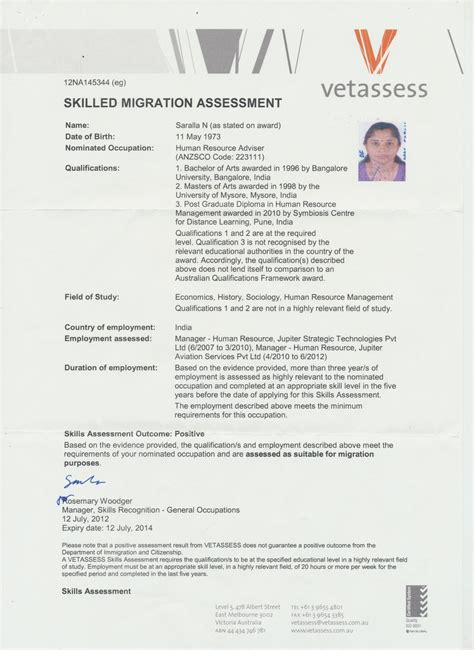 Evaluation Outcome Letter Vetassess Skills Assessment