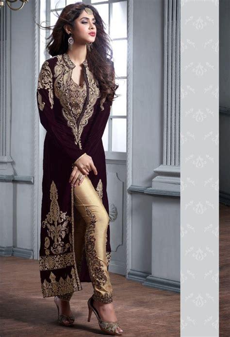 velvet design clothes maroon designer velvet palazzo 36355 indian clothes