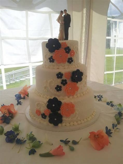 navy and coral wedding cake   Google Search   A girl can