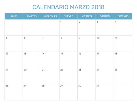 Calendario 2018 Editable Calendario Marzo 2018 Editable