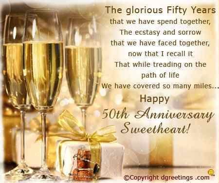 50th Golden Jubilee Wedding Anniversary Wishes for Parents