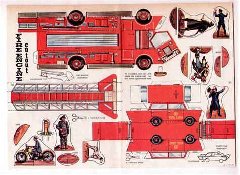 Cut Out And Make Paper Models - pompier pompiers voitures papier et moteur