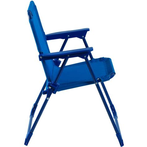 Toddler Patio Chair Two Tone Blue Foldaway Steel Frame Garden Patio Deck Chair New