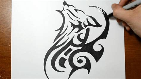 tribal tattoos unique cool tribal wolf drawings www pixshark images