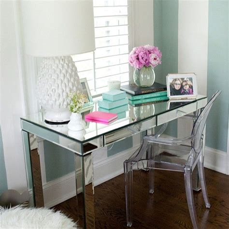 Mirrored Office Desk Mirrored Desk And Ghost Chair Tr 232 S Chic Home Office Pinterest Office Desks Vanities And