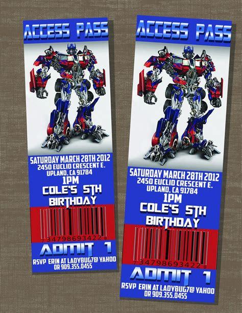 printable invitations transformers transformers birthday optimus prime ticket invite 10 00