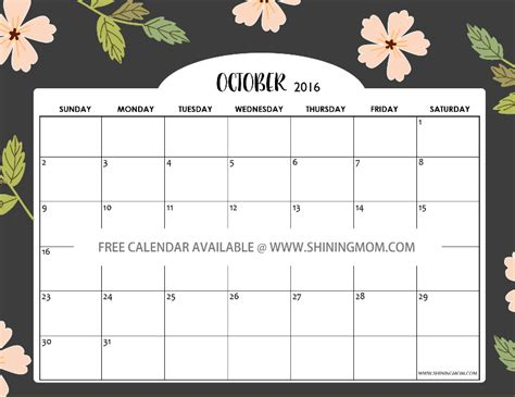 printable calendar 2016 pretty free calendars for october 2016 halloween designs