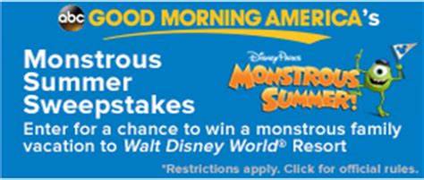 Gma Disney Sweepstakes - good morning america s monstrous summer sweepstakes