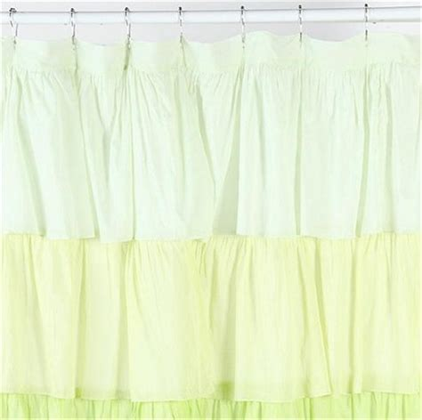 yellow ruffle shower curtain shabby french chic ruffled flamenco yellow green ruffle