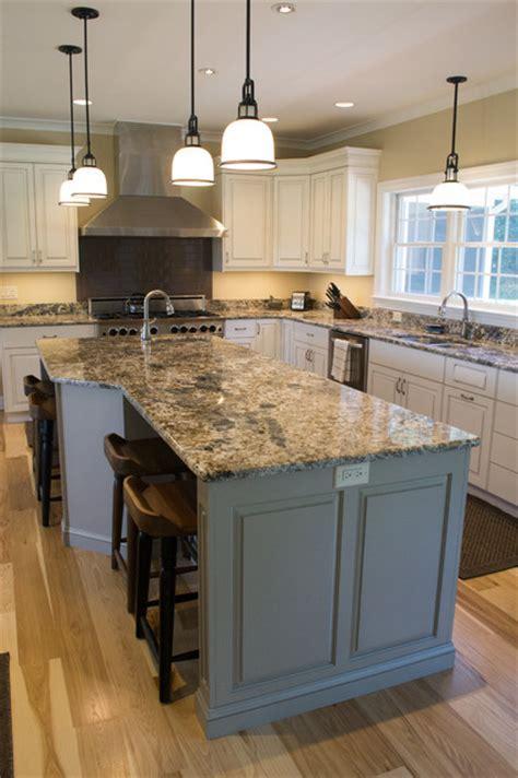 Milton, DE white kitchen and grey island with a pewter glaze
