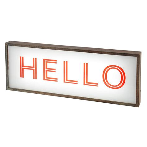hello lights hello light box with rustic frame white from litecraft