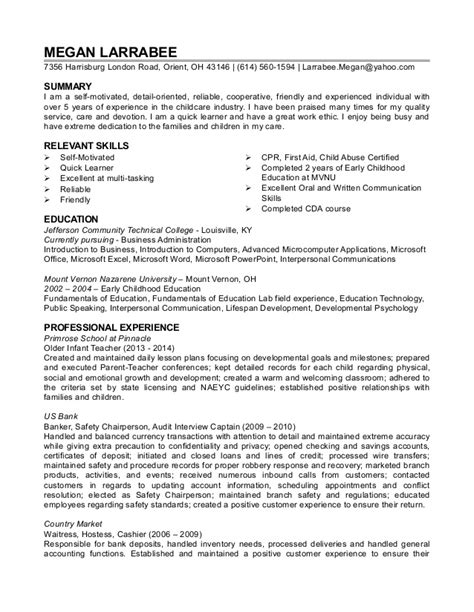 Resume For Child Care Background Success by Megan Larrabee Resume Childcare