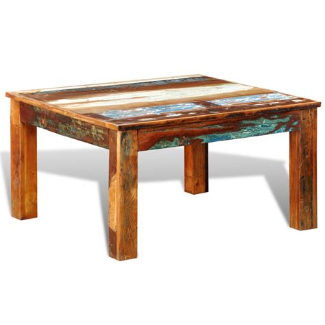 square coffee table wood reclaimed wood coffee table square antique style vidaxl