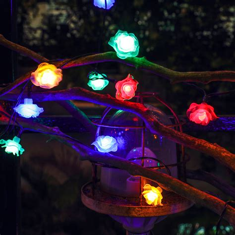 26ft 50led rose blossom multi color solar fairy string