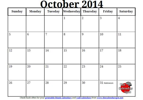 october 2014 calendar template blank monthly calendar october 2014 calendar template 2016