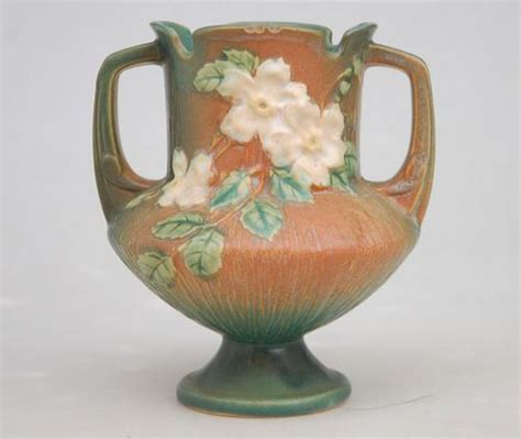 Rosewood Pottery Vase by Roseville Pottery 146 6 Quot White Brown Vase