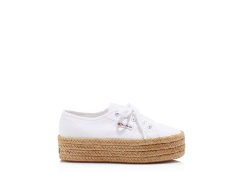 superga white platform sneakers superga cotropew lace up espadrille platform sneakers in