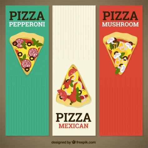 italy colors banners of colors italian flag with pizza pieces vector