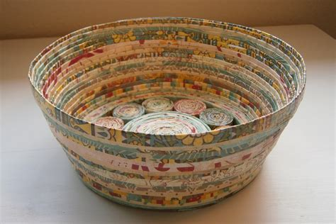 Handcrafted Baskets - handmade paper basket teal medium