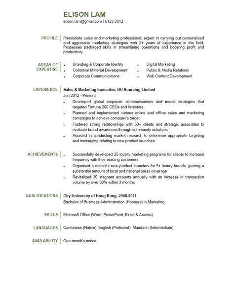 marketing executive cv sles sales marketing executive cv ctgoodjobs powered by career times