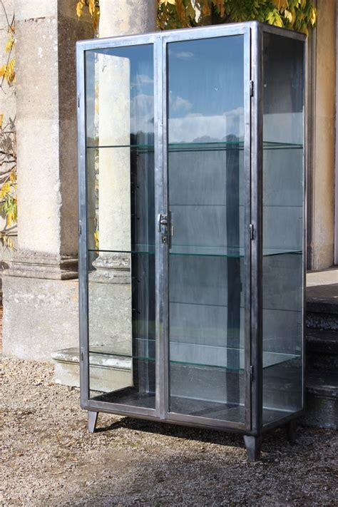 Steel And Glass Cabinet by 1950s Polished Steel And Glass Display Cabinet Bookcases