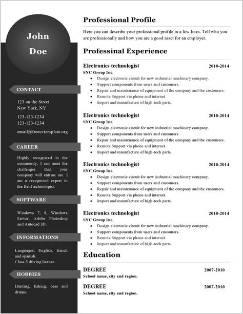 Editable Resume Template by Free Editable Resume Template Resume Resume