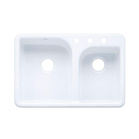 White Kitchen Sink Home Depot Kohler Langlade Drop In Cast Iron 33 In 4 Kitchen