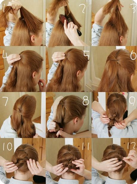 easy braided hairstyles for medium hair step by step easy hairstyles for long hair step by step