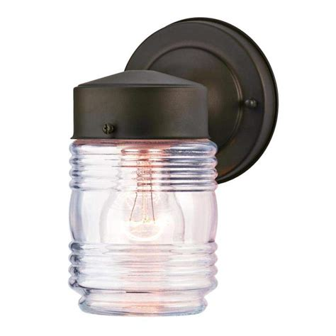 Jelly Jar Outdoor Light Fixture Westinghouse 66882 1 Light Rubbed Bronze Clear Ribbed Glass 1lt Wall Ltn Orb W Clr Gls
