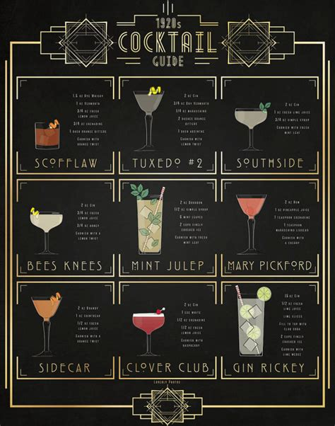 cocktail themed names print of my original illustration of popular 1920s