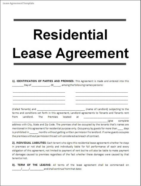 10 Apartment Rental Lease Agreement Form Word Project Management Certification Training Apartment Rental Contract Template Word