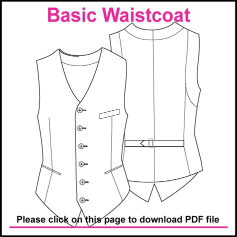 sewing pattern illustrator basic single breasted waistcoat pattern created in