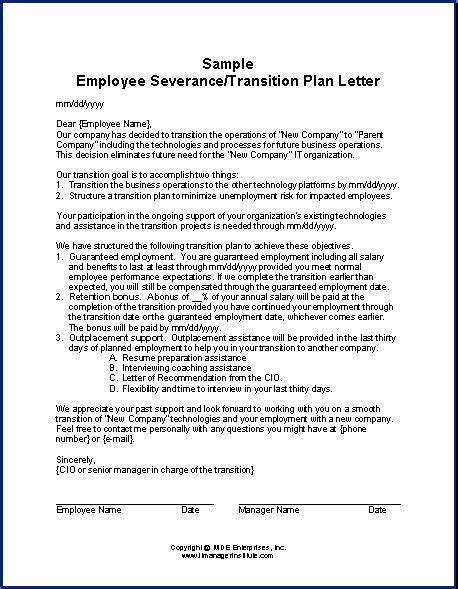 Exles Of Letters Of Recommendation For Former Employees Acquisition Transition Plan Template