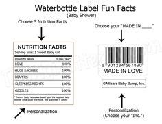 Nutrition Facts Label For Baby Shower Google Search Baby Shower Ideas Favors Pinterest Birthday Nutrition Facts Label Template