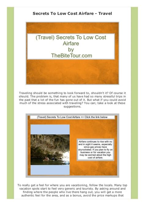 free travel guide secrets to low cost airfare