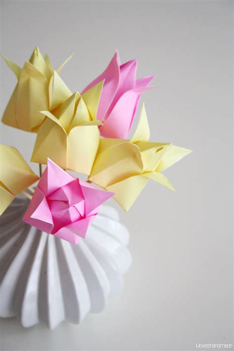 How To Make A Paper Tulip - happy easter handmade origami paper tulips bunny
