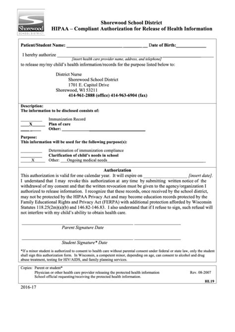 Hipaa Compliant Authorization For Release Of Health Information Form Printable Pdf Download Hipaa Compliant Release Of Information Template