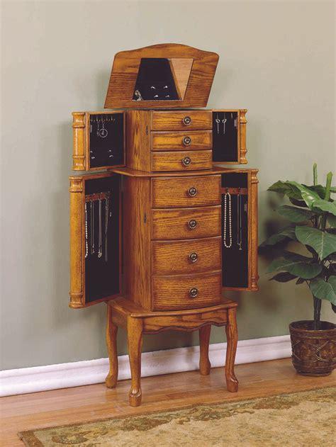 armoire oak powell woodland oak jewelry armoire by oj commerce 604 315 249 00