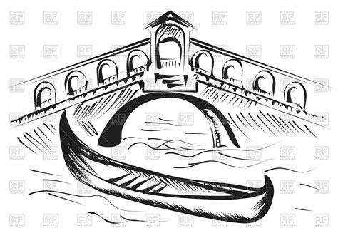 cartoon venice boat venice gondola and bridge vector image vector artwork of