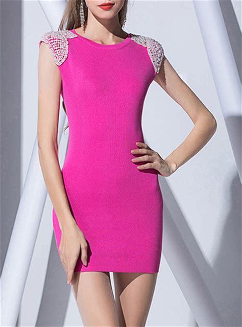 Dress Pearl Hotpink s sheath dress pink pearl trim
