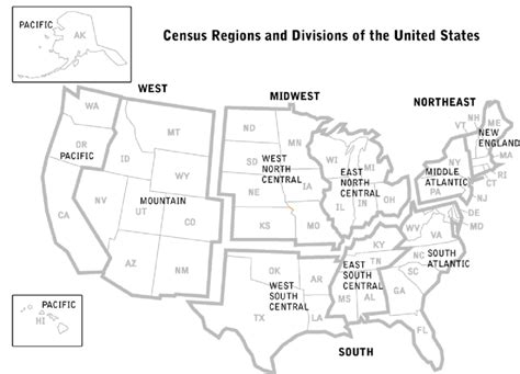 map us census regions 1 a map of the united states with the u s census bureau