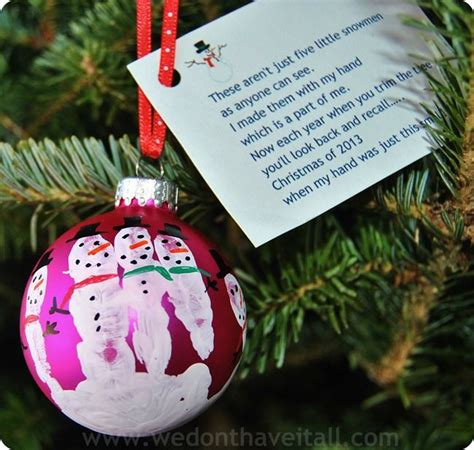 snowman handprint poem homemade hand print snowman ornament gift  child