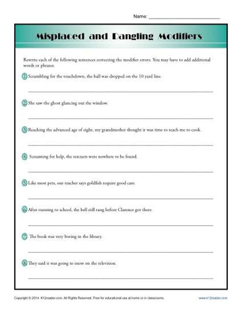 Dangling And Misplaced Modifiers Worksheet misplaced and dangling modifiers word usage worksheet