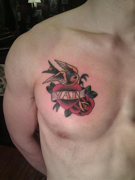 heart with roses tattoo bird with banner on chest