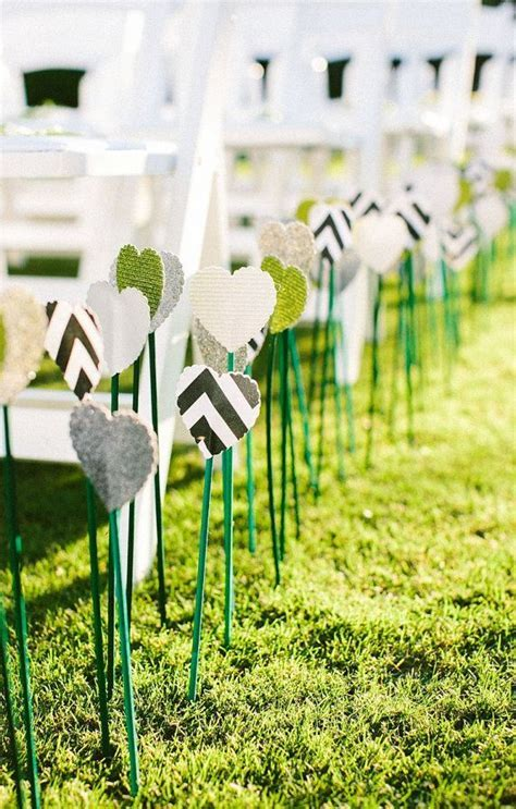 500 Modern Hearts on Sticks  Wedding Aisle Decoration