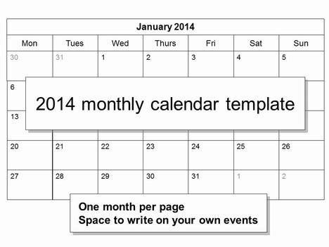 Free 2014 Calendar Template