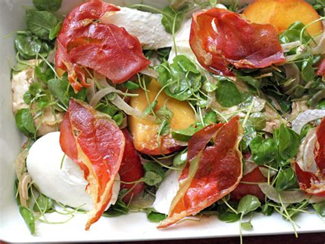 tyler florence salad peach mozzarella and crispy prosciutto salad recipe