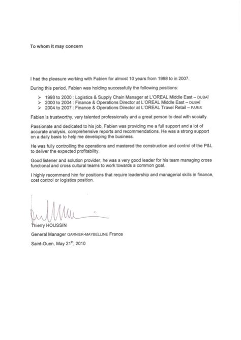 Reference Letter Retail Reference Letter L Oreal Middle East L Oreal Travel Retail
