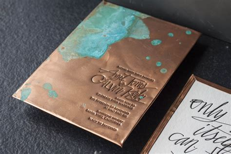 Copper Wedding Invitations copper wedding invitation with a patina effect